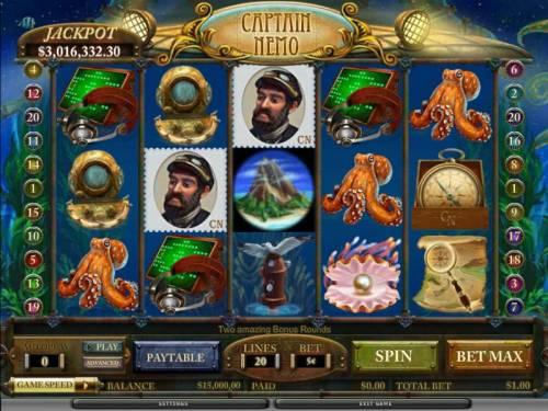 Captain Nemo Big Bonus Slots main game board