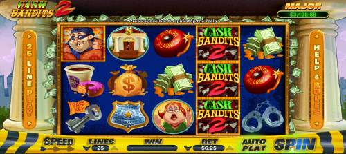 Cash Bandits 2 Big Bonus Slots Main game board featuring five reels and 25 paylines with a $12,500 max payout.