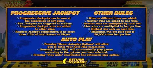 Cash Bandits 2 Big Bonus Slots Progressive Jackpot and General Game Rules