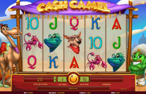 Cash Camel Big Bonus Slots Main Game Board