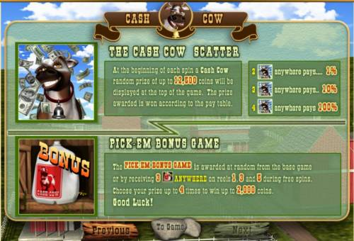 Cash Cow review on Big Bonus Slots