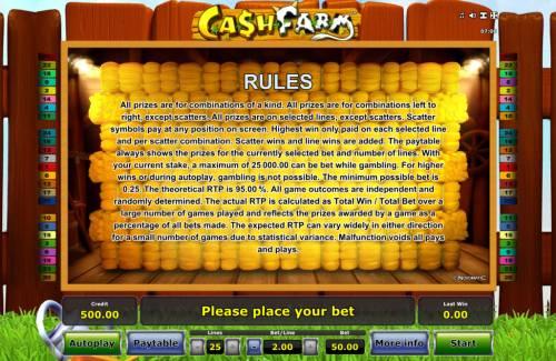 Cash Farm Big Bonus Slots General Game Rules