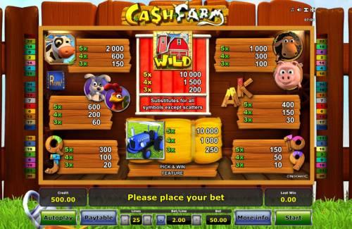Cash Farm Big Bonus Slots Paytable