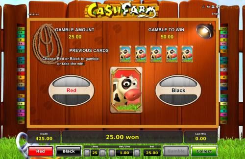 Cash Farm Big Bonus Slots Gamble Feature Game Board
