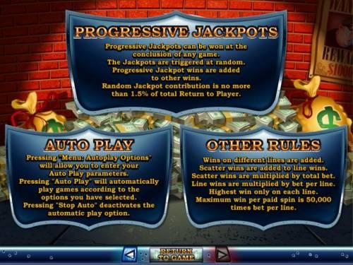 Cash Bandits Big Bonus Slots Progressive Jackopts, Auto Play and Other Rules.