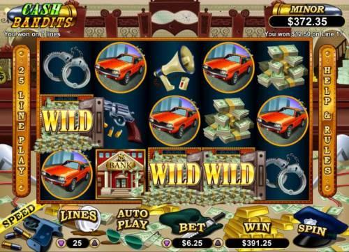 Cash Bandits Big Bonus Slots Multiple winning paylines triggers a $391.25 big win!