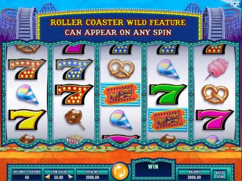 Cash Coaster Big Bonus Slots Main game board featuring five reels and 30 paylines with a $250,000 max payout