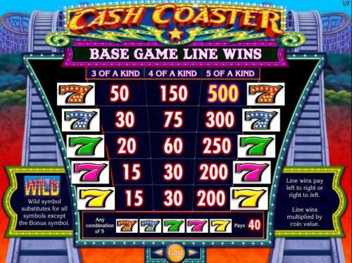Cash Coaster Big Bonus Slots High value slot game symbols paytable