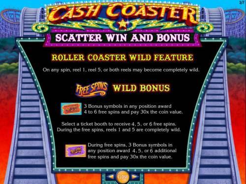 Cash Coaster Big Bonus Slots Roller Coaster Wild feature. and Free Spins Wild Bonus game rules.