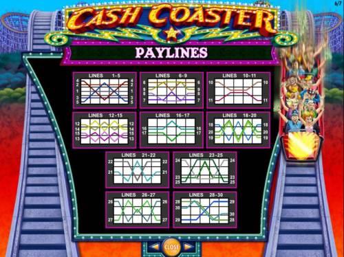 Cash Coaster Big Bonus Slots Payline Diagrams 1-30