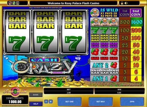 Cash Crazy Big Bonus Slots slot game board