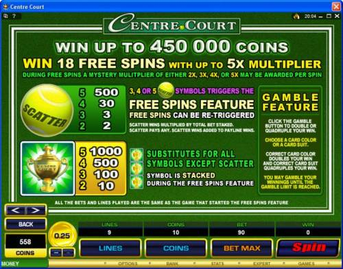 Centre Court review on Big Bonus Slots