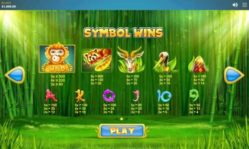 Chinese Wilds Big Bonus Slots Paytable
