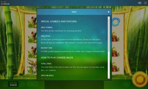 Chinese Wilds Big Bonus Slots General Game Rules