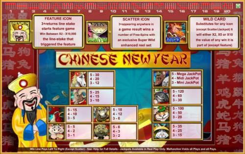 Chinese New Year Big Bonus Slots slot game symbols paytable