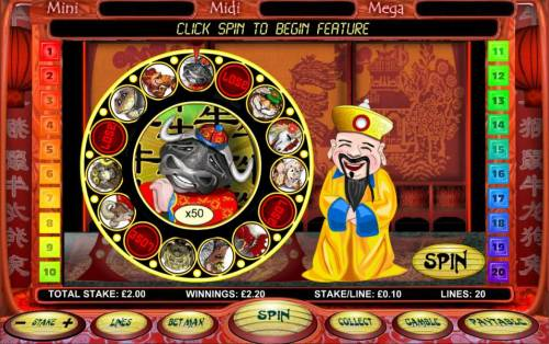 Chinese New Year Big Bonus Slots spin the wheel to earn a prize multiplier