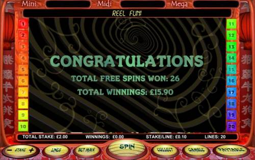 Chinese New Year Big Bonus Slots free spins total payout $15