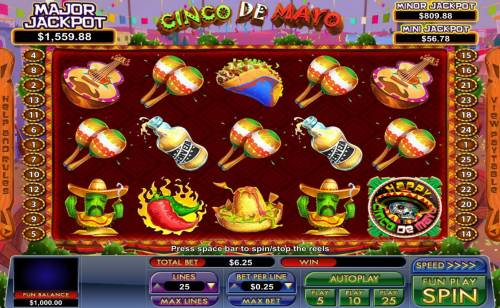 Cinco de Mayo Big Bonus Slots Main game board featuring five reels and 25 paylines with a progressive jackpot max payout.