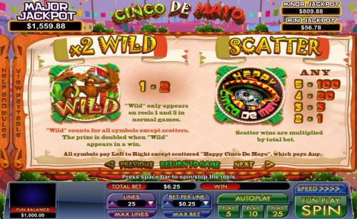 Cinco de Mayo Big Bonus Slots Wild and Scatter symbols Rules and Pays