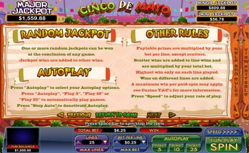 Cinco de Mayo Big Bonus Slots Random Jackpot Rules and General Game Rules