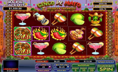 Cinco de Mayo Big Bonus Slots A winning symbols combinations leads to a 115.50 pay out award.