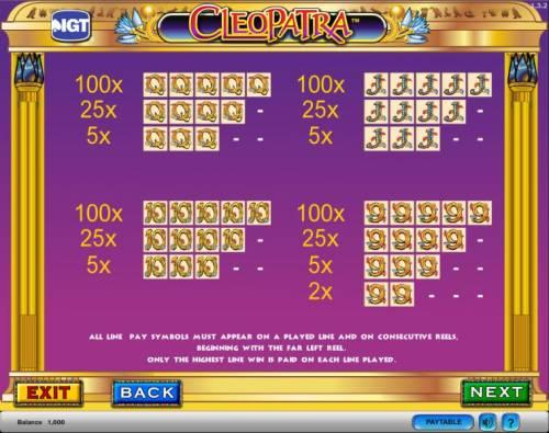 Cleopatra Big Bonus Slots Cleopatra slot game payout table