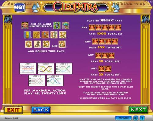 Cleopatra Big Bonus Slots Cleopatra slot game  wilds and scatters paylines