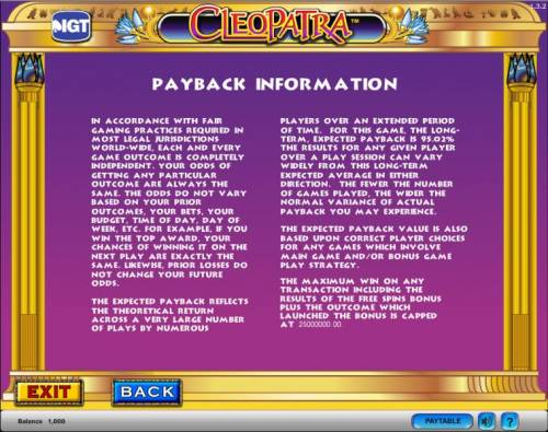Cleopatra Big Bonus Slots Cleopatra slot game  payback information
