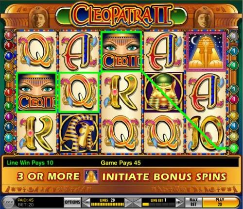 Cleopatra II review on Big Bonus Slots