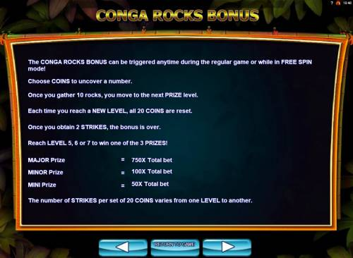 Conga Party Big Bonus Slots Conga Rocks Bonus Rules