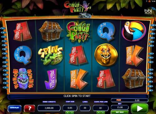Conga Party Big Bonus Slots Main Game Board