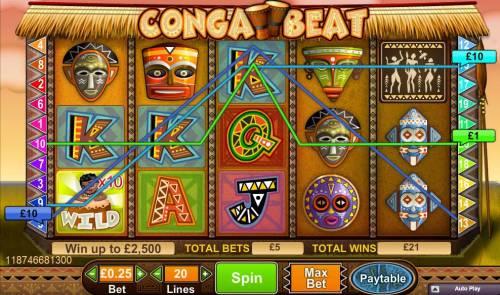 Conga Beat review on Big Bonus Slots