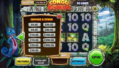 Congo Bongo Big Bonus Slots Betting Options