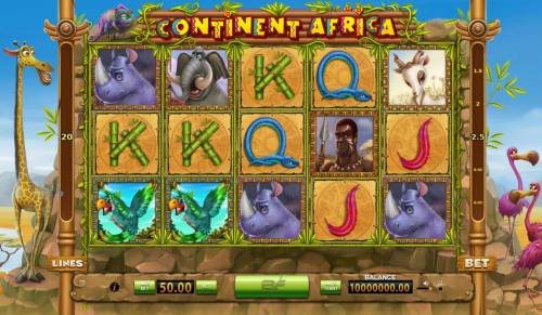 Continent Africa Big Bonus Slots Main game board featuring five reels and 20 paylines with a $2,500 max payout.