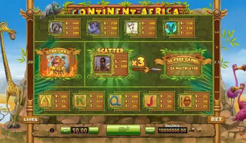 Continent Africa Big Bonus Slots Slot game symbols paytable.