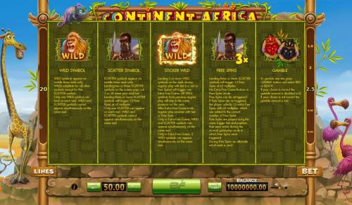 Continent Africa Big Bonus Slots Wild, Scatter, Sticky Wild, Free Spins and Gamble Feature Rules.