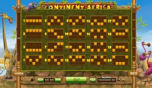 Continent Africa Big Bonus Slots Payline Diagrams 1-20