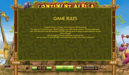 Continent Africa Big Bonus Slots General Game Rules