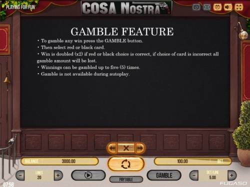 Cosa Nostra Big Bonus Slots Gamble Feature Rules