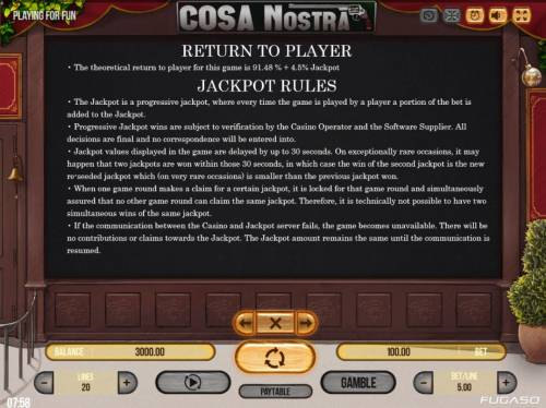 Cosa Nostra Big Bonus Slots Jackpot Feature Rules