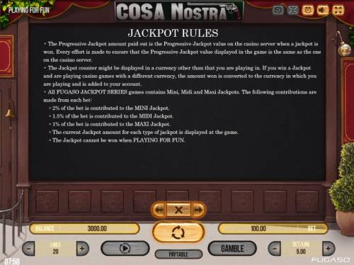 Cosa Nostra Big Bonus Slots Jackpot Feature Rules - Continued