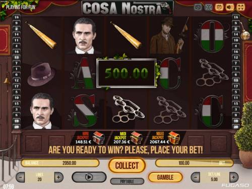 Cosa Nostra Big Bonus Slots Multiple winning paylines triggers a big win