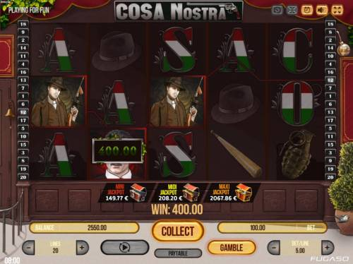 Cosa Nostra Big Bonus Slots A winning Three of a Kind