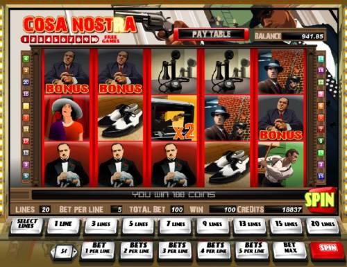 Cosa Nostra Big Bonus Slots bonus feature triggered