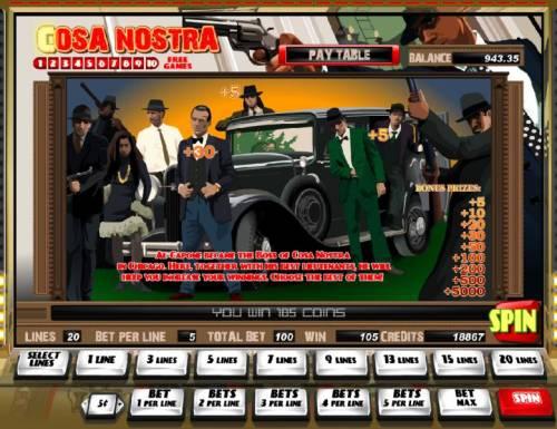 Cosa Nostra Big Bonus Slots bonus feature awards a 30 coin jackpot