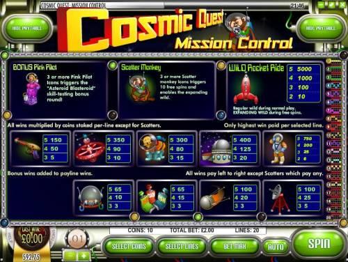 Cosmic Quest Mission Control review on Big Bonus Slots