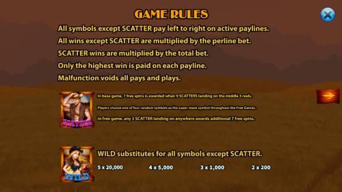 Cowboys Big Bonus Slots Wild and Scatter Symbol Rules