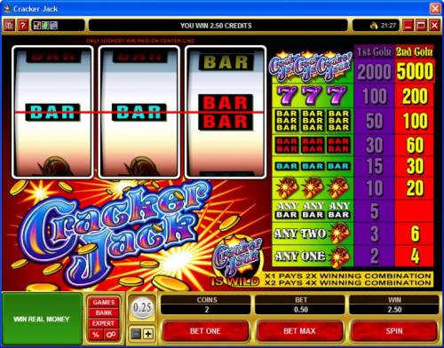 Cracker Jack review on Big Bonus Slots