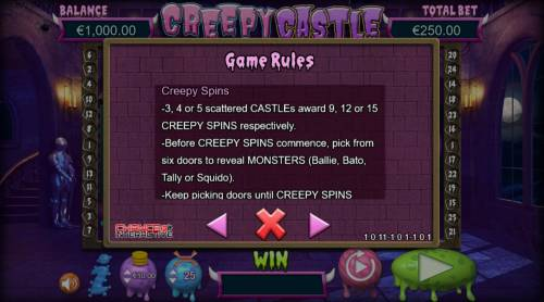 Creepy Castle Big Bonus Slots General Game Rules
