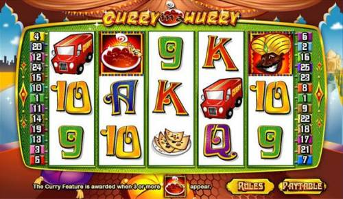 Curry In A Hurry Big Bonus Slots Main game board featuring five reels and 20 paylines with a $90,000 max payout
